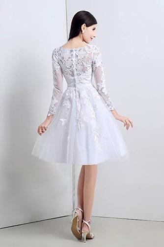 Vestido de novia Apliques Natural Corte-A Alto cubierto Hasta la Rodilla - Página 2