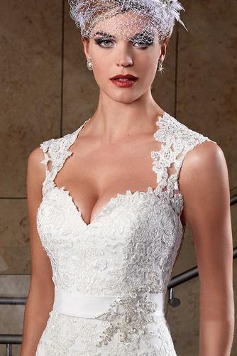 Vestido de novia Corte Sirena Apliques Sin mangas Escote Corazón Satén - Página 4