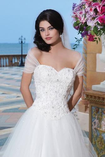 Vestido de novia Abalorio Playa Bola largo primavera Escote con Hombros caídos - Página 3