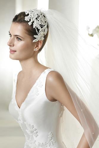 Vestido de novia Con velo Corte-A Cola Capilla Espalda medio descubierto - Página 3