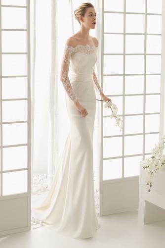 Vestido de novia Botón Escote con Hombros caídos Natural Verano Cola Barriba - Página 1
