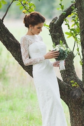 Vestido de novia Escote con cuello Alto Apertura Frontal Verano Manga larga - Página 4