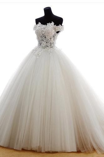 Vestido de novia Escote con Hombros caídos Iglesia Natural Cola Barriba - Página 3