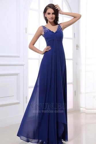 Vestido de noche azul real descubierto Plisado fantasía Escote en V - Página 2