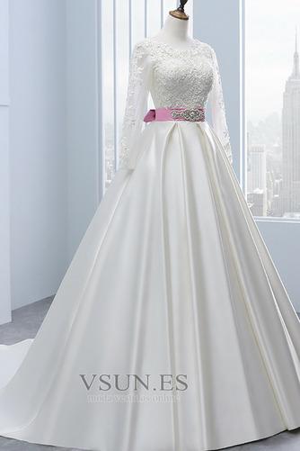 Vestido de novia Manga larga Mangas Illusion Satén Corte-A Cinturón de cuentas - Página 3