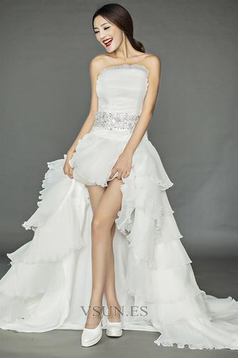 Vestido de novia Asimètrico Organza Drapeado Alto Bajo Sin mangas primavera - Página 1
