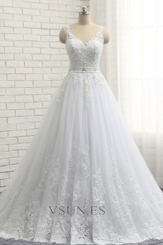 Vestido de novia Natural Escote en V Corte-A Falta Sin mangas largo - Página 1