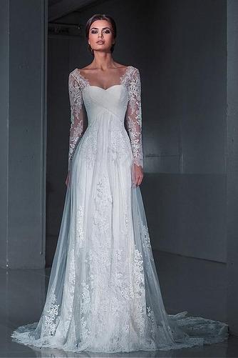 Vestido de novia Encaje Natural Satén Playa Escote Cuadrado largo - Página 1