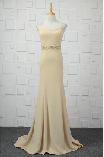 Vestido de noche Cremallera Glamouroso Natural Satén Elástico Escote de Tirantes Espaguetis - Página 1