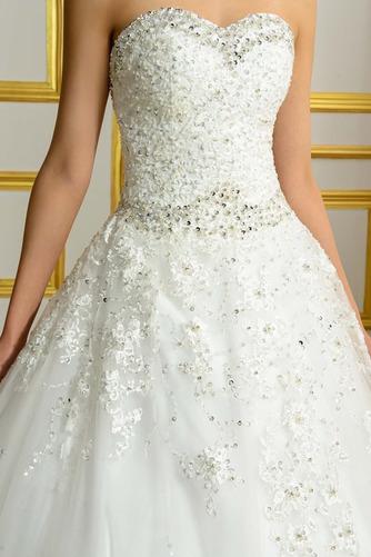 Vestido de novia Espalda Descubierta Invierno Sin mangas largo Corpiño Acentuado con Perla - Página 4