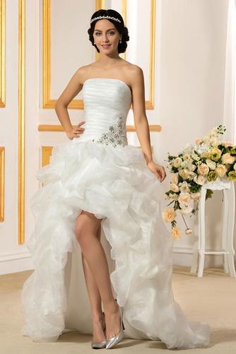 Vestido de novia Sin tirantes Triángulo Invertido Asimètrico Espalda Descubierta - Página 1