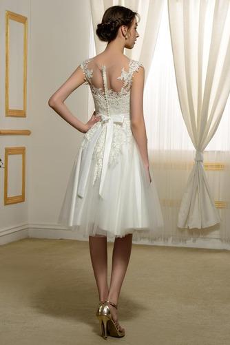Vestido de novia Hasta la Rodilla Fuera de casa Natural Encaje Arco Acentuado - Página 3