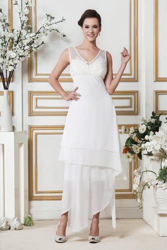 Vestido de novia Asimétrico Dobladillo Apliques Sin mangas Otoño Natural - Página 1