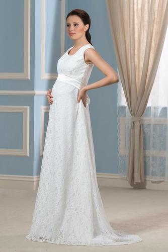 Vestido de novia Imperio Cola Barriba Moderno Escote redondo Encaje - Página 2