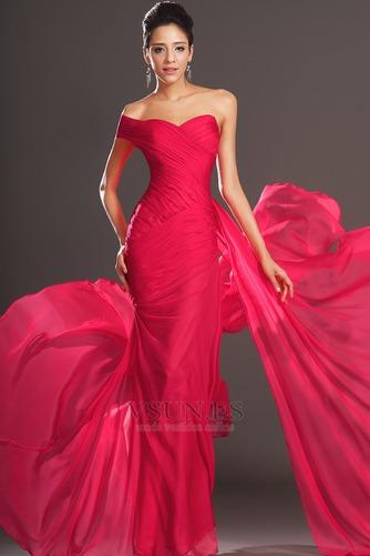 Vestido de noche rojos cereza Gasa Delgado largo Escote Asimètrico - Página 2