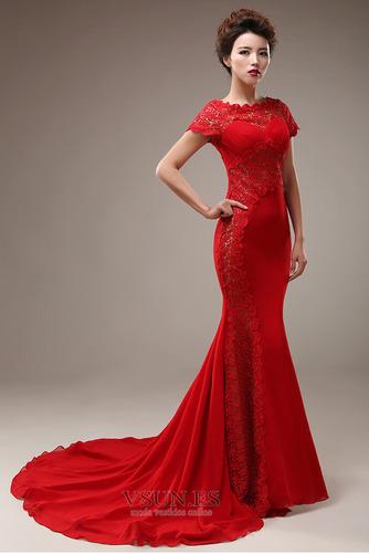 Vestido de novia Corte Sirena Capa de encaje Camiseta Natural Satén Elástico - Página 3