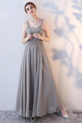Vestido de dama de honor Natural Corte-A Blusa plisada Escote en V Sin mangas - Página 5
