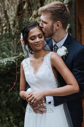 Vestido de novia Gasa Capa de encaje Arco Acentuado Espalda Descubierta - Página 3