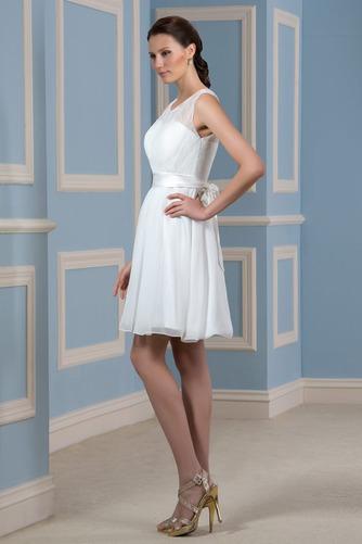 Vestido de novia Playa Drapeado Natural Corte-A Sin mangas Glamouroso - Página 4