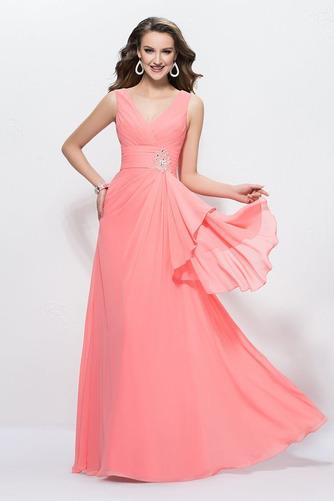 Vestido de noche Escote en V Drapeado Elegante Hasta el Tobillo Blusa plisada - Página 2