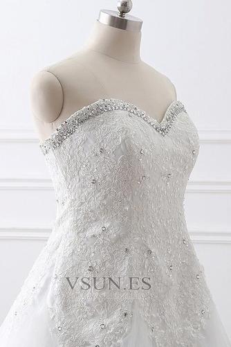 Vestido de novia Abalorio Escote Corazón Iglesia largo Cordón Natural - Página 4