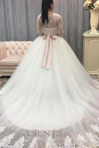 Vestido de novia Elegante Lazos Natural tul Cola Corte Joya - Página 2