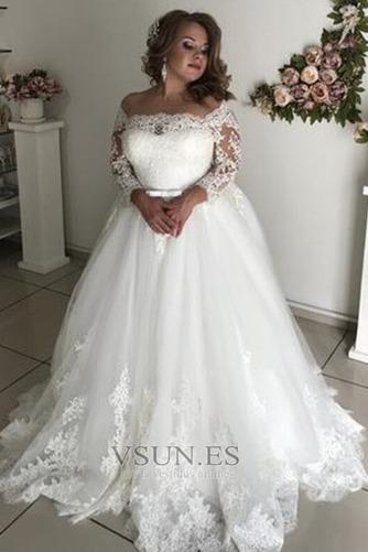 Vestido de novia Playa Formal tul Rectángulo Apliques Mangas Illusion - Página 1