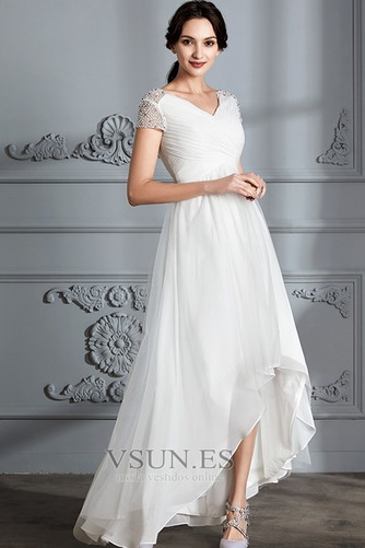 Vestido de novia Verano Manga corta Falta Asimétrico Dobladillo Plisado - Página 3