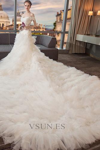 Vestido de novia Cola Real Falta Natural Cordón Camiseta Corte-A - Página 2