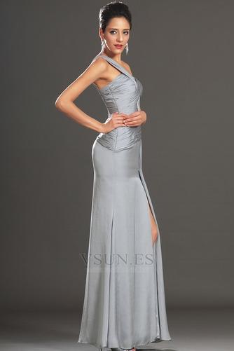 Vestido de cóctel Plata Un sólo hombro Corte Recto Plisado Cintura Baja - Página 4