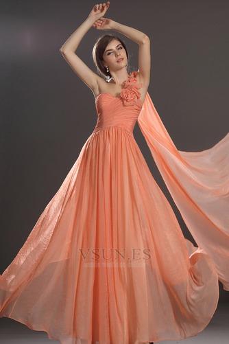 Vestido de noche Elegante Cremallera Gasa Hasta el suelo Flores Blusa plisada - Página 1