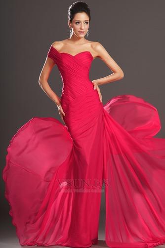 Vestido de noche rojos cereza Gasa Delgado largo Escote Asimètrico - Página 3