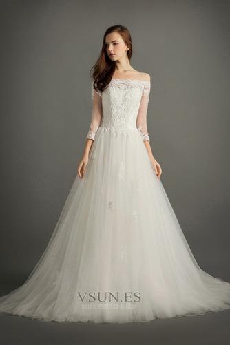 Vestido de novia Encaje Corte-A Escote con Hombros caídos Natural Triángulo Invertido - Página 1