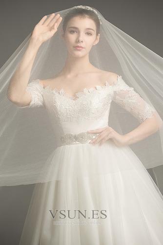 Vestido de novia Elegante Escote con Hombros caídos tul Apliques Hasta el suelo - Página 3