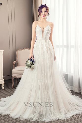 Vestido de novia Escote de Tirantes Espaguetis largo Iglesia Sin mangas - Página 1