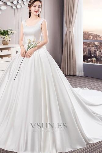 Vestido de novia Cola Real Drapeado Satén Iglesia Cordón Triángulo Invertido - Página 1