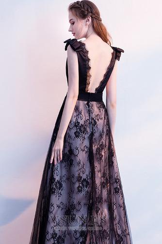 Vestido de fiesta Elegante Escote en V Sin mangas Capa de encaje Corte-A - Página 2