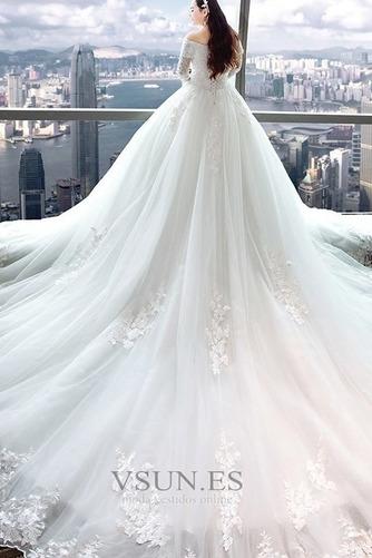 Vestido de novia Capa de encaje Apliques Triángulo Invertido largo Natural - Página 2