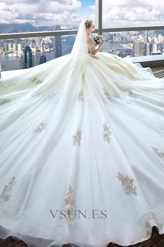 Vestido de novia Escote con Hombros caídos Falta Bordado Manga tapada - Página 3