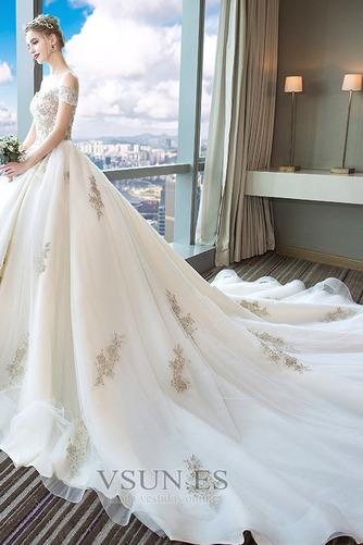 Vestido de novia Escote con Hombros caídos Falta Bordado Manga tapada - Página 4