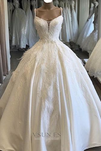 Vestido de novia Sala Natural Pera Espectaculares Escote de Tirantes Espaguetis - Página 1