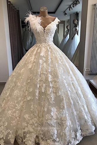 Vestido de novia Sin mangas Baja escote en V Corte-A Espectaculares - Página 1