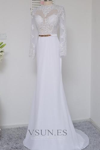 Vestido de novia Satén Elástico Mangas Illusion Hasta el suelo Corte Sirena - Página 4