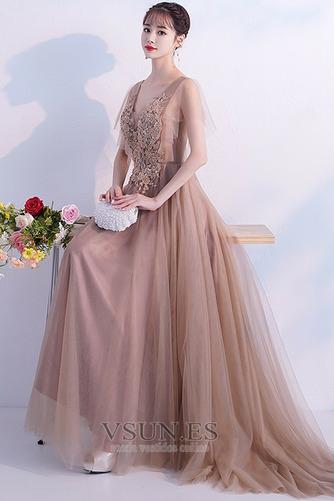 Vestido de fiesta Encaje tul Natural Elegante Falta Cola Barriba - Página 4