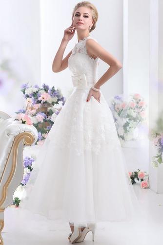 Vestido de novia Hasta el Tobillo Lazos tul Espalda medio descubierto - Página 3