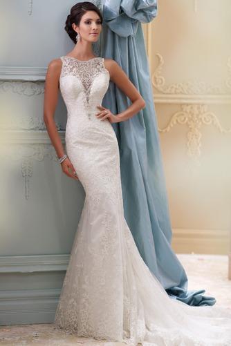 Vestido de novia vendimia Barco Apliques Otoño Pura espalda Natural - Página 1