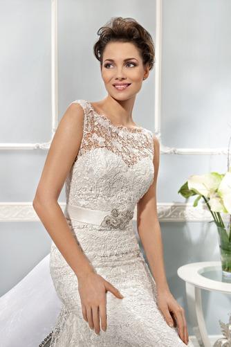 Vestido de novia Corte Sirena Cremallera Barco Natural Otoño Cola Capilla - Página 3
