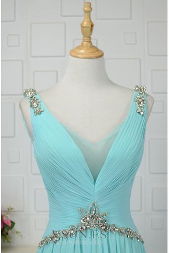 Vestido de noche Cordón Corte-A Plisado Formal Escote en V Blusa plisada - Página 3