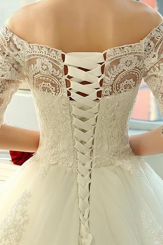 Vestido de novia Clasicos Mangas Illusion Otoño Cordón Recatada Corte princesa - Página 5