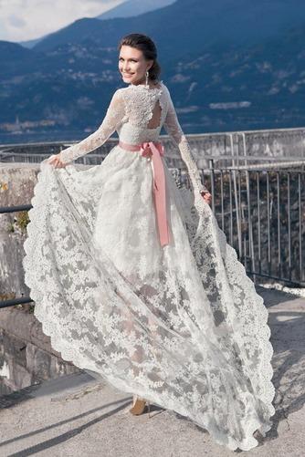Vestido de novia Cordón Verano Alto Bajo Escote Cuadrado Manga larga - Página 4